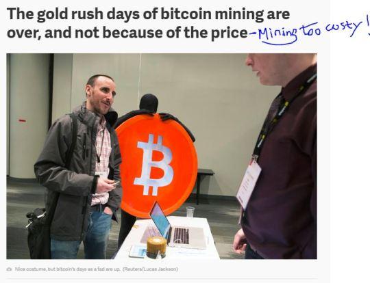 Bitcoin rush now costy